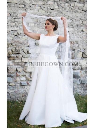 Classic A Line Backless White Sleeveless Satin Long Wedding Dresses 2021