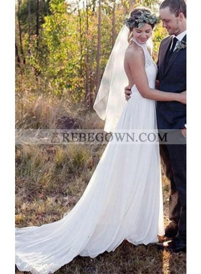 2021 Elegant A Line Chiffon High Neck Lace Backless Beach Wedding Dresses