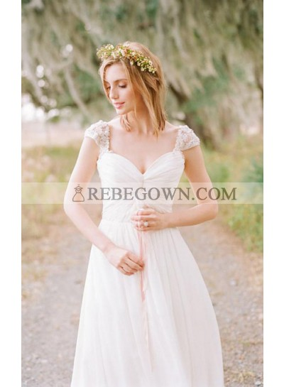 Elegant A Line Capped Sleeves Sweetheart Pleated Chiffon Backless Outdoor Wedding Dresses 2021