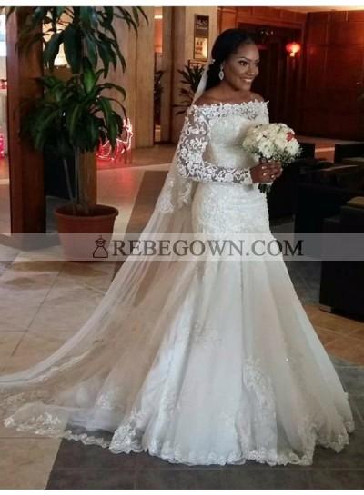 Charming Mermaid  Off Shoulder Long Sleeves Ivory Lace Long Wedding Dresses 2021