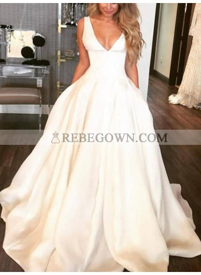 Charming A Line Satin Deep V Neck Long Ivory Wedding Dresses 2021