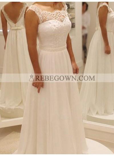 2021 Cheap A Line Round Neck Backless Bowknot Belt Chiffon Beach Wedding Dresses