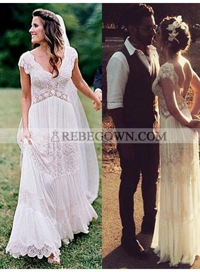 Elegant A Line V Neck Lace Floor Length Backless Beach Wedding Dresses 2021