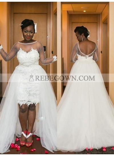2021 A Line High Low See Through Long Sleeves Tulle Short Sweetheart Plus Size Wedding Dresses