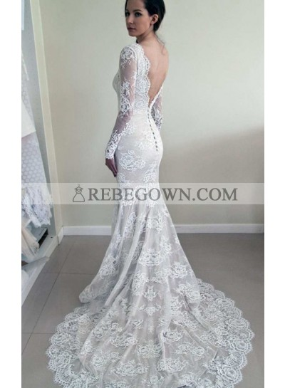 Vintage Long Sleeves Round Neck Lace Backless Sheath Long Wedding Dresses 2021