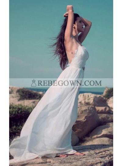 Charming A Line Sweetheart Spaghetti Straps Chiffon Lace Backless Beach Wedding Dresses 2021