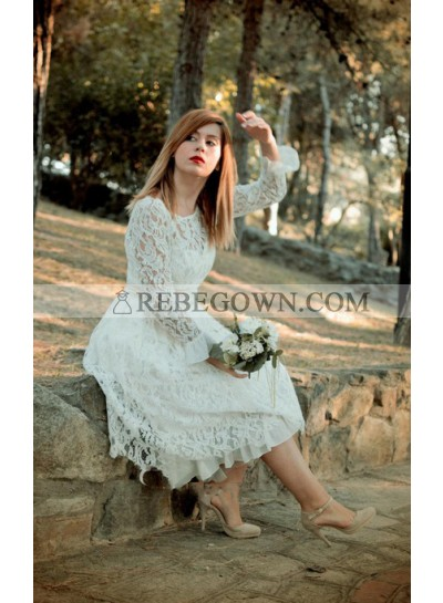 2021 A Line Tea Length Long Sleeves Round Neck Belt Lace Short Wedding Dresses
