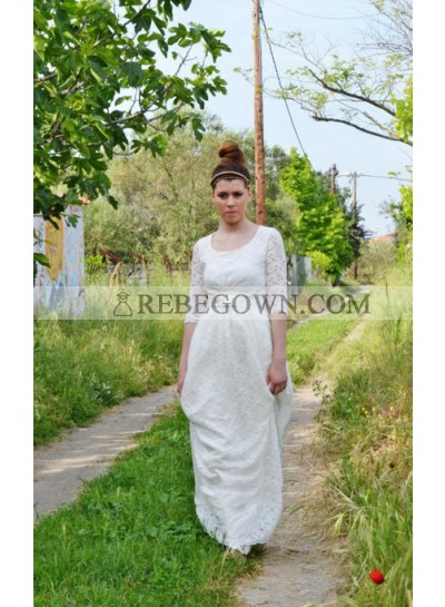 2021 New Arrival A Line Round Neck Long Sleeves Lace Wedding Dresses With Belt