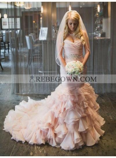 2021 Luxury Mermaid  Sweetheart Organza Long Lace Up Pink Layered Wedding Dresses