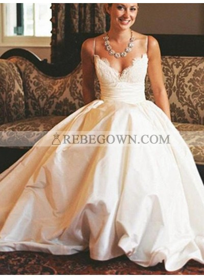 2021 New Arrival A Line Satin Sweetheart Spaghetti Straps Lace Long Wedding Dresses