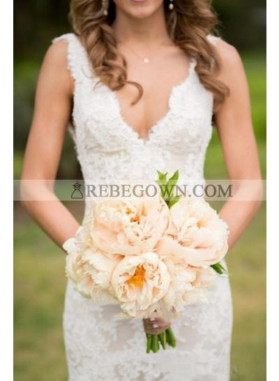2021 Charming Sheath V Neck Backless Ivory Lace Wedding Dresses