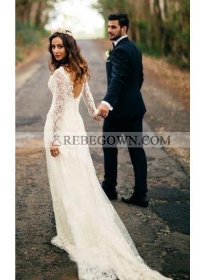 Elegant Sheath Long Sleeves Sweetheart Backless Long Lace Wedding Dresses 2021