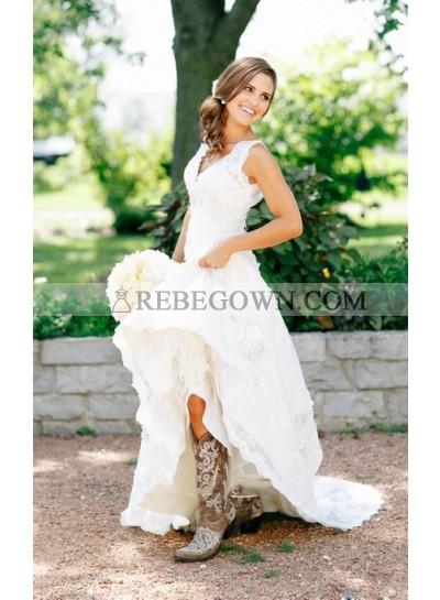 2021 Vintage A Line V Neck Lace Long Wedding Dresses