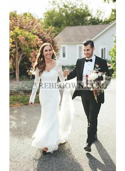 2021 Charming Mermaid  V Neck Lace Long Sleeves Backless Wedding Dresses