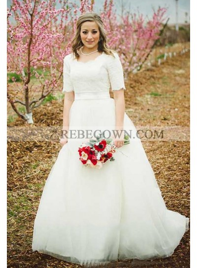 2021 Classic A Line Round Neck Ivory Tulle Short Sleeves Lace Wedding Dresses