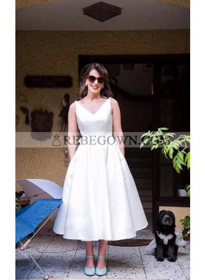 2021 Classic A Line V Neck Backless Bowknot Back Tea Length Satin Short Wedding Dresses