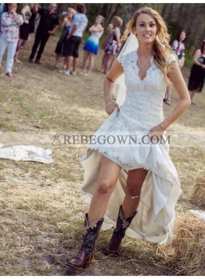 2021 Elegant Sheath V Neck Capped Sleeves Backless Long Lace Wedding Dresses