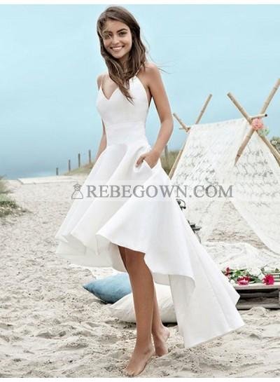 2020 Elegant A Line High Low Satin Backless Short Sweetheart Beach Wedding Dresses