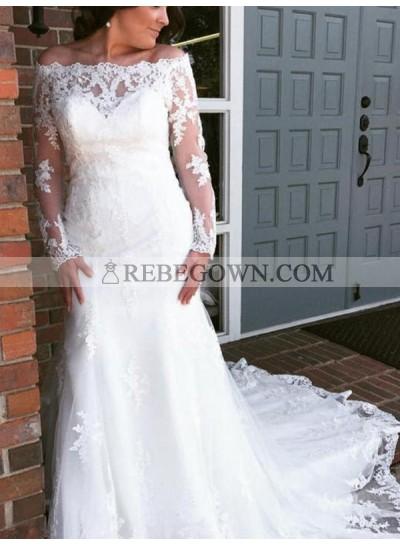 2021 Classic Sheath Off Shoulder Sweetheart Long Sleeves Lace Wedding Dresses