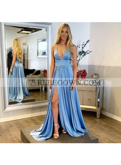 2021 Cheap Elastic Satin A Line Sweetheart Side Slit Long Blue Prom Dresses