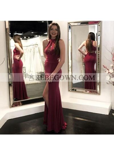 2020 Charming Sheath Burgundy Side Slit Lace Up Front Sleeveless Prom Dresses