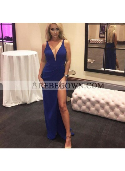 Amazing Sweetheart Royal Blue Sheath Side Slit Backless Prom Dresses 2021