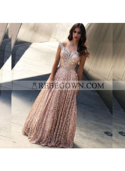 2020 Shiny A Line Off Shoulder Sequence Sweetheart Pink Prom Dresses
