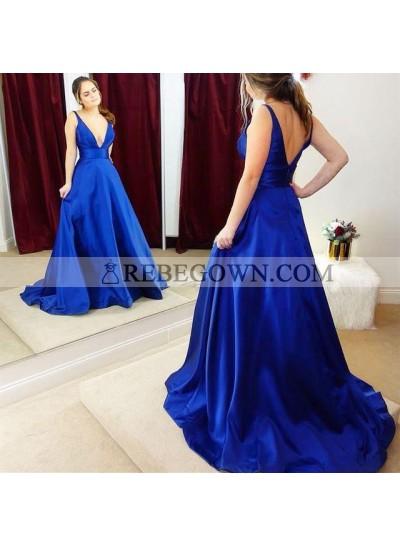 Elegant A Line Elastic Satin Royal Blue Deep V Neck Long Prom Dresses 2020