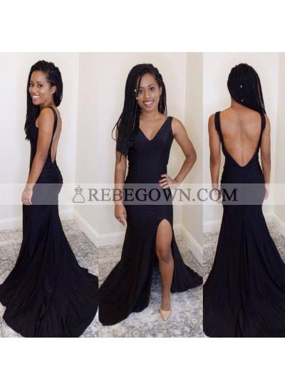 Sexy Sheath Black Side Slit Backless V Neck Stretchy Long Prom Dresses 2021