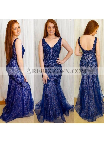 Charming Royal Blue Tulle With Appliques Mermaid  V Neck Lace Long Prom Dresses 2021