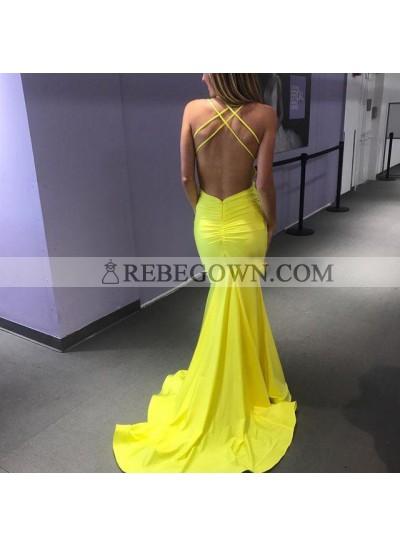 Charming Yellow Backless Criss Cross V Neck Sheath Long Prom Dresses 2020