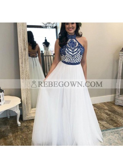 2020 Elegant A Line Lace Up Back White High Neck Tulle Embroidery Prom Dresses