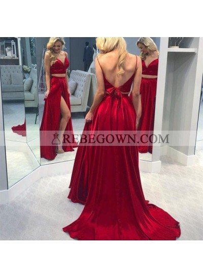 Charming Red A Line Sweetheart Side Slit Lace Up Back Long Two Pieces Prom Dresses 2021
