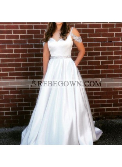 Elegant 2021 A Line Satin Off Shoulder Sweetheart Beaded Satin White Prom Dresses