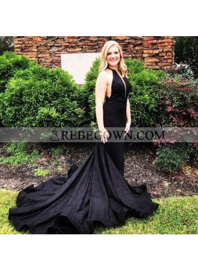 Sexy Black Sheath V Neck Halter Long Plain Prom Dresses 2020
