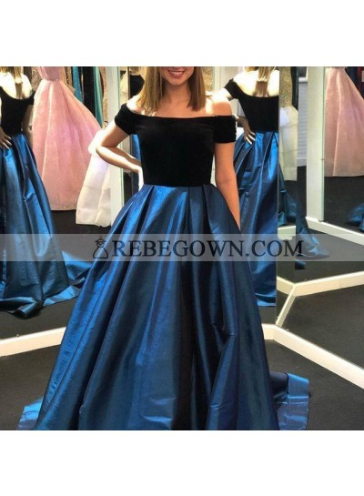 2021 New Arrival A Line Off Shoulder Satin Black And Navy Blue Long Prom Dresses