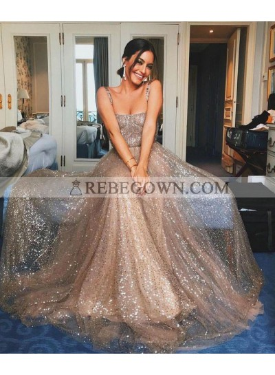 2021 Shiny A Line Sequence Long Prom Dresses With Straps