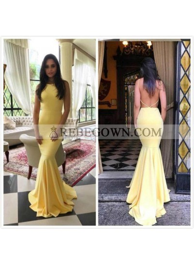 Sexy Mermaid  Satin Light Yellow Backless Long Prom Dresses 2021