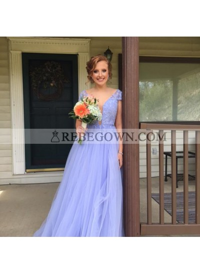 Cheap A Line Tulle Lavender Short Sleeves V Neck Lace Prom Dresses 2021