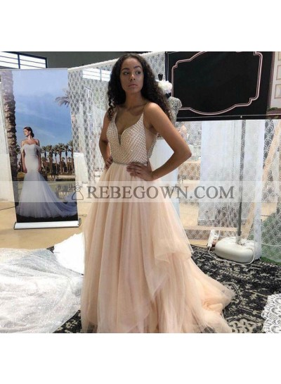 2021 New Arrival A Line Pleated Tulle Sweetheart Beaded Peach Long Prom Dresses