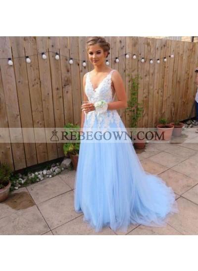 Elegant A Line Tulle Blue And White Appliques V Neck Long Prom Dresses 2020