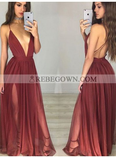 Charming A Line Burgundy Deep V Neck Backless Side Slit Halter 2021 Prom Dresses