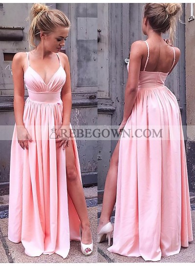 Cheap A Line Sweetheart Spaghetti Straps Pink Side Slit Satin Prom Dresses 2020