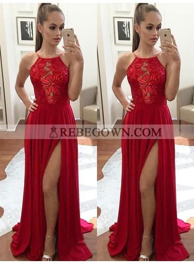 Charming Red A Line Elastic Satin Side Slit Halter Lace Backless Prom Dresses 2020