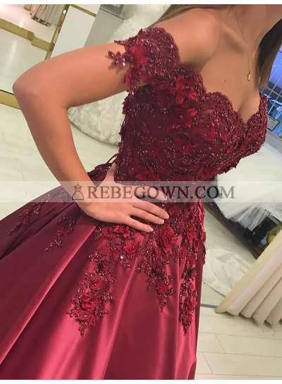Elegant Off Shoulder Satin Sweetheart Short Sleeves Burgundy Ball Gown Prom Dresses With Appliques 2021