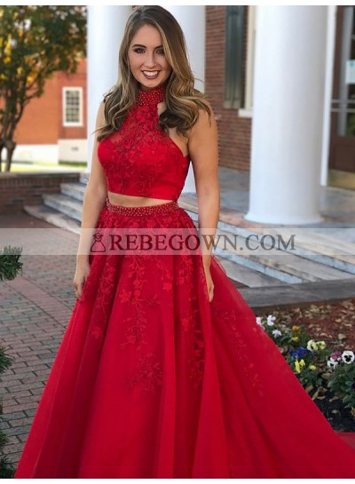 Charming A Line Red High Neck Two Pieces Tulle With Appliques Backless 2021 Long Prom Dresses