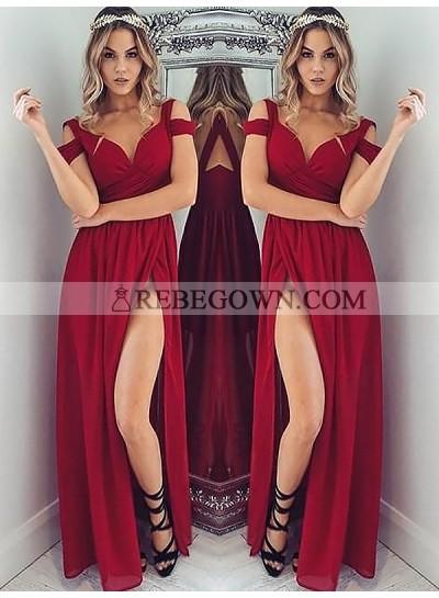 2021 Cheap A Line Sweetheart Off Shoulder Burgundy Side Slit Prom Dresses