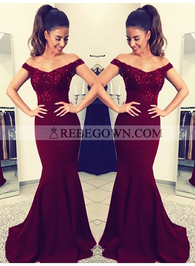 Charming Burgundy Off Shoulder Elastic Satin Long Mermaid  Lace Prom Dresses 2020