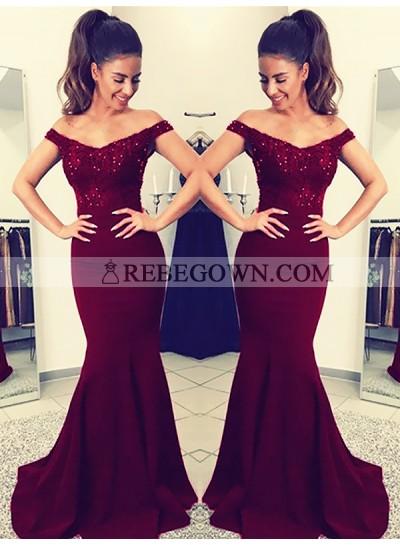 Charming Burgundy Off Shoulder Elastic Satin Long Mermaid  Lace Prom Dresses 2021