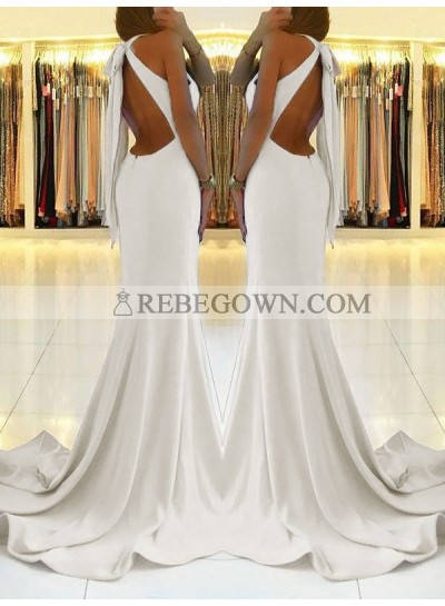 2021 Charming White Sheath Side Slit Lace Up Back Backless Halter Prom Dresses